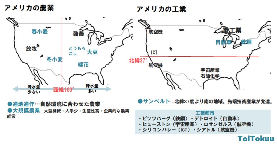 アメリカの産業の地図(中学地理)